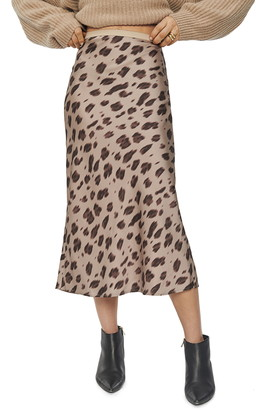 Anine Bing Bar Print Silk Midi Skirt
