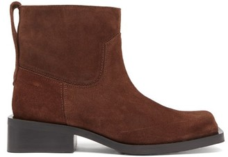 Ganni Mc Square-toe Suede Western Boots - Dark Brown