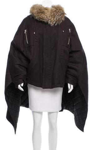 Altuzarra Hooded Fur-Trimmed Cape