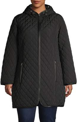 London Fog Long-Sleeve Hooded Quilted Jacket