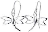 Maya's Gems Women's Earrings Silver - Sterling Silver Dragonfly Drop Earrings