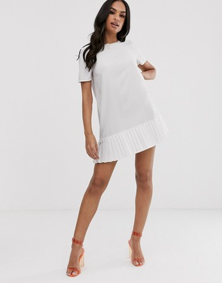 Asos Design DESIGN sheer shift mini dress with pleated hem-White