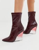 Asos Design DESIGN Expectations high leg wedge boots in burgundy croc