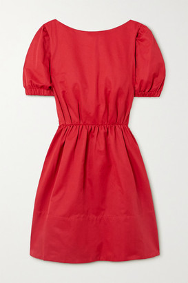 STAUD Alix Open-back Cotton-blend Faille Mini Dress - Red
