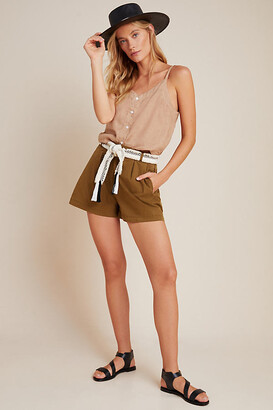 Anthropologie Kelyn Pleated City Shorts By in Green Size 0