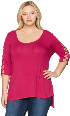 Love Scarlett Women's Plus Size Zig Zag Lace Up Sleeve Tee