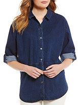 Eileen Fisher Classic Denim Collar Rolled Elbow Sleeve Shirt