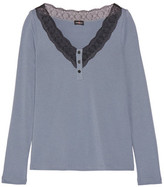 Cosabella Perugia Lace-Trimmed Pima Cotton And Modal-Blend Pajama Top