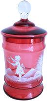 One Kings Lane Vintage Hand-Enameled Cranberry Glass Jar