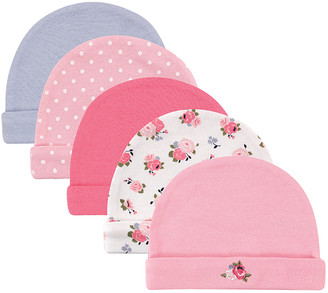 Luvable Friends Girls' Beanies Floral - Pink & Blue Floral Beanie Set - Infant