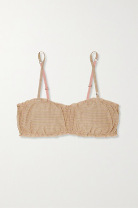 LOVE Stories Lucy Ruffled Checked Cotton And Silk-blend Soft-cup Bra