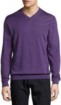 Armani Collezioni Wool V-Neck Sweater, Purple