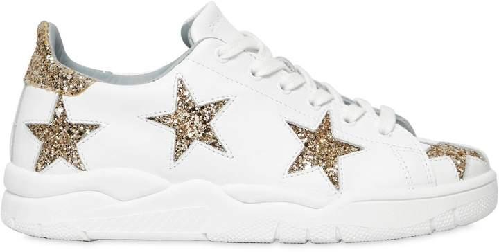 Chiara Ferragni 20mm Glittered Stars Leather Sneakers