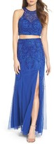 Sean Collection Women's Mesh Two-Piece Gown