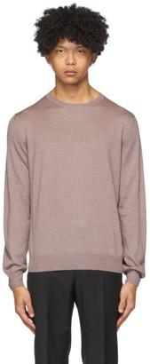 Ermenegildo Zegna Purple Silk and Cashmere Crewneck Sweater