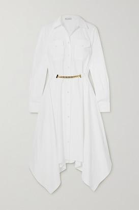 J.W.Anderson Asymmetric Chain-embellished Cotton-poplin Shirt Dress - White