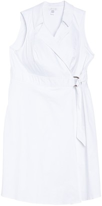London Times Notch Collar Sleeveless Wrap Dress (Plus Size)