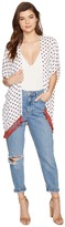 BB Dakota Clemens Saharan Geo Printed Crinkle Poly Vest with Cotton Fringe Trim Women's Vest