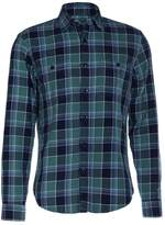 J.crew Midweight Flannel Fall River Shirt Rugby Green