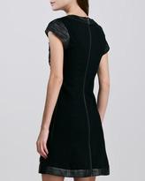 Catherine Malandrino Relaxed Cutout Leather Dress