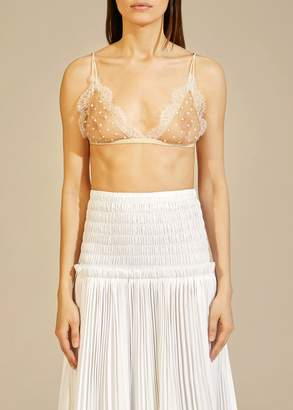 KHAITE The Pasquale Bralette in Nude with White Dots
