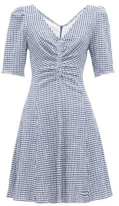 STAUD Gingham Seersucker Mini Dress - Womens - Blue
