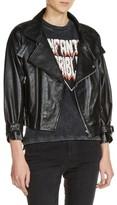Maje Women's Loose Sleeve Leather Moto Jacket