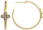 Freida Rothman 14K Gold Plated Sterling Silver CZ Pave Clover Hoop Earrings