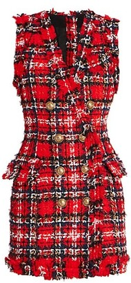 Balmain Button Tartan Tweed Dress