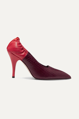Victoria Beckham Two-tone Watersnake And Leather Pumps - Burgundy
