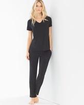 Soma Intimates Short Sleeve Pajama Set Festivity Black