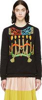 Peter Pilotto Black Robe Embroideries Sweatshirt