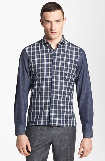 Neil Barrett Plaid & Chambray Woven Shirt