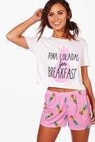 Boohoo Petite Amy Pina Colada Pyjama Short Set pink