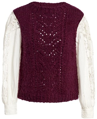 Sea Mixed-Media Crewneck Sweater