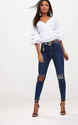 PrettyLittleThing Open Knee Rip Dark Wash High Waisted Skinny Jean