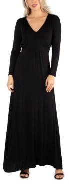 24seven Comfort Apparel Women's Semi Formal Long Sleeve Maxi Dress