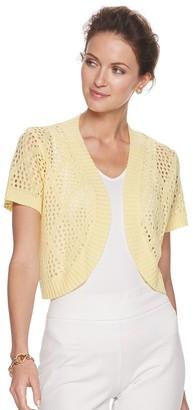 Nina Leonard Women's Open-Weave Crochet Knit Bolero