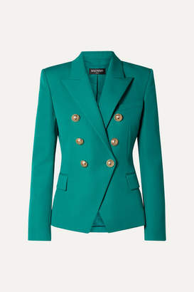 Balmain Double-breasted Grain De Poudre Wool Blazer - Jade