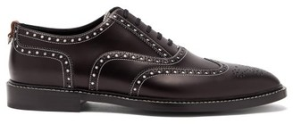 Burberry Lennard Perforated Leather Brogues - Mens - Black White