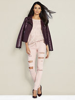 New York & Co. Lurex Pointelle-Knit Dolman Sweater