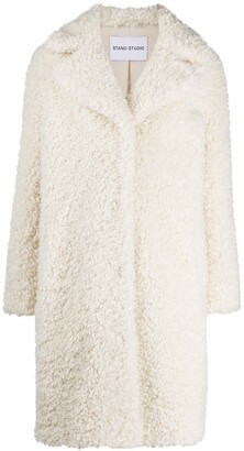 Stand Studio Single Breasted Faux Shearling Coat