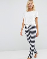 Asos Knot Front Tee & Stripe Jogger Pajama Set