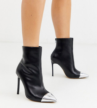 London Rebel wide fit stiletto pointed boots with silver toe cap-Black