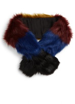 BP Colorblock Faux Fur Pull Through Scarf