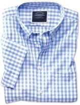Classic Fit Button-Down Non-Iron Poplin Short Sleeve Sky Blue Gingham Cotton Casual Shirt Single Cuff Size Large by Charles Tyrwhitt