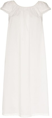 POUR LES FEMMES Lawn scalloped-trimmed cotton dress