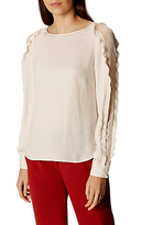Karen Millen Pleated Trim Blouse, Neutral