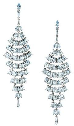 Adriana Orsini Silvertone & Aqua Cubic Zirconia Layered Chandelier Earrings