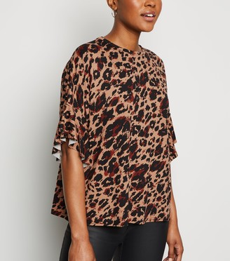 New Look Leopard Print Frill T-Shirt